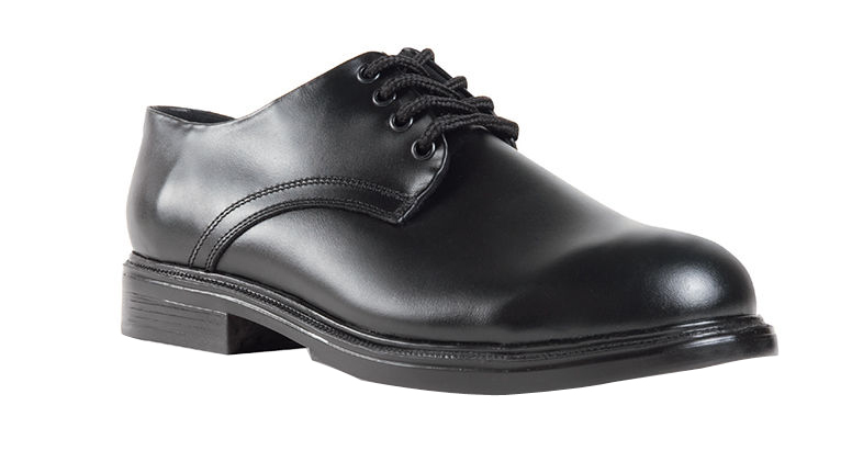 Sixka Men's Oxford Military Leather Black High Shine Shoes