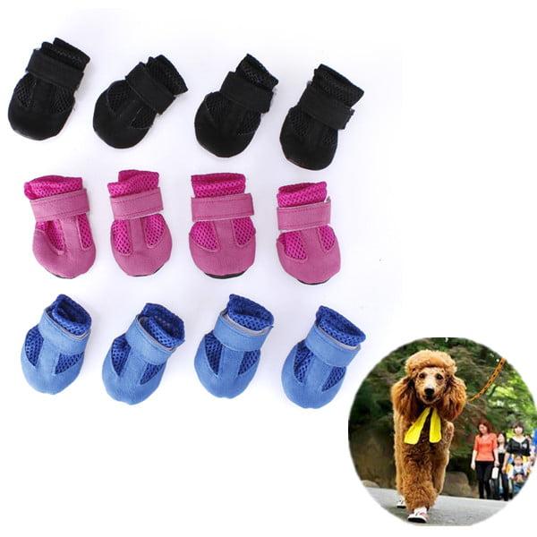 4Pcs Dog Puppy Pet Soft Mesh Shoes Boots  Closure Sports Sneakers 4 Sizes