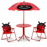 Costway Kids Patio Set Table And 2 Folding Chairs w/ Umbrella Beetle Outdoor Garden Yard
