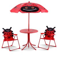 Product Image Costway Kids Patio Set Table And 2 Folding Chairs W Umbrella Beetle Outdoor Garden Yard