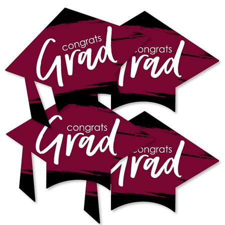 Maroon Grad - Best is Yet to Come - Grad Cap Decorations DIY Burgundy Graduation Party Essentials - Set of