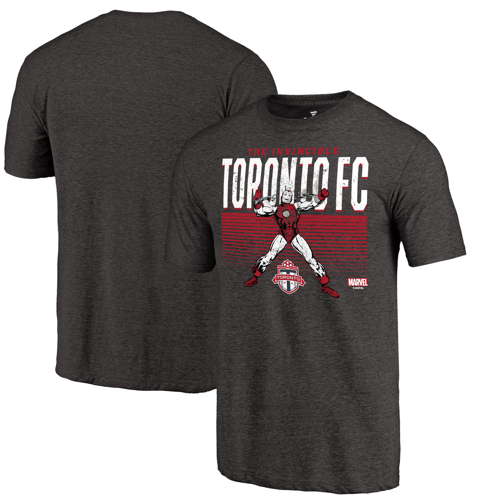Toronto FC Fanatics Branded MLS Marvel Iron Man Invincible Tri-Blend T-Shirt - Black