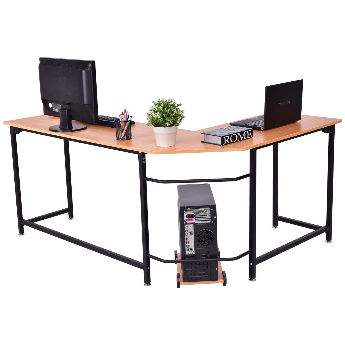 Gymax Home Office L Shaped Corner Computer Desk Pc Latop