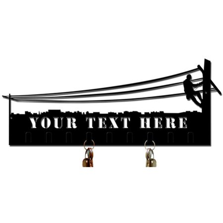 Past Time Signs PS476 21 x 7 in. Lineman Key Holder Personalized Cut Out Plasma Metal Sign Key Holder Personalize Cut Out
