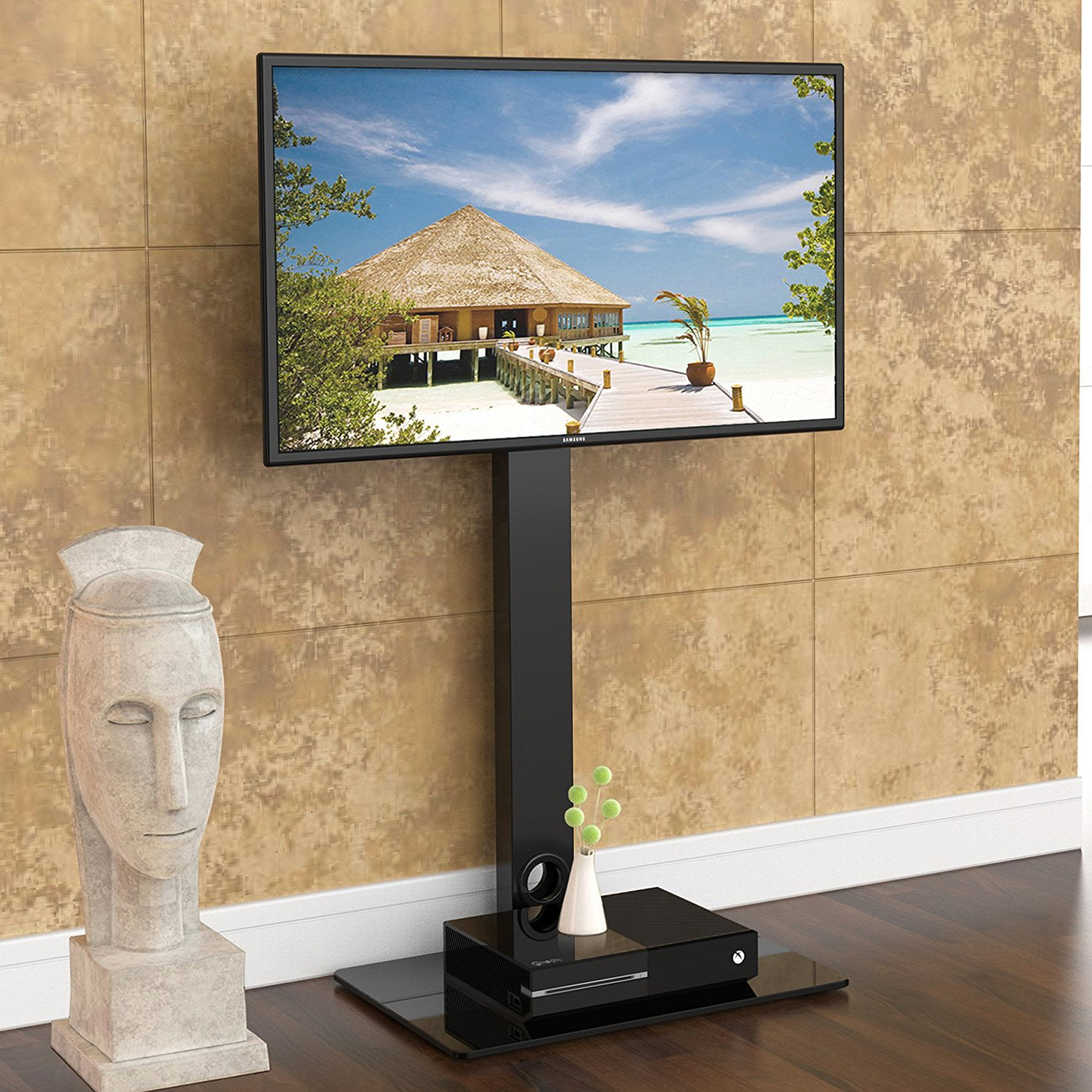 Fitueyes Floor Tv Stand With Swivel Mount For 32 To 55 Inch Tvs