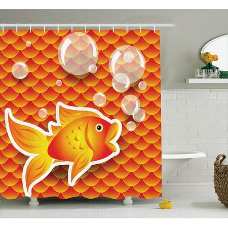 Orange Shower Curtain Set Cute Small Goldfish Talking With Bubbles Random Scallop Patterns