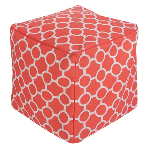 Surya 18 x 18 in. Outdoor Circle Cube Pouf by Surya