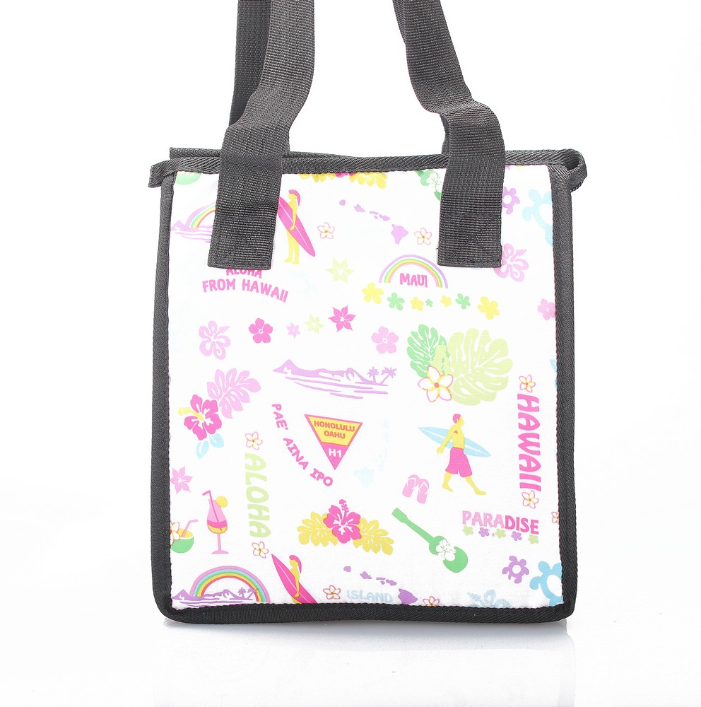 Hawaiian Print Thermal Insulated Zipper Lunch Bag Surfer Rainbow Ukulele in White