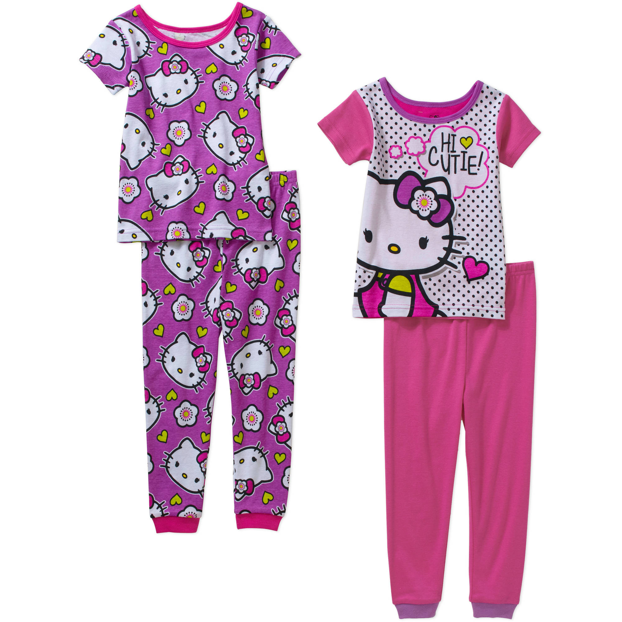 Hello Kitty Toddler Girl Cotton Tight Fit Short Sleeve PJ Set, 4-Pieces