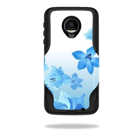 MightySkins Protective Vinyl Skin Decal for OtterBox Commuter Moto Z Force Droid Case wrap cover sticker skins Blue Flowers ()