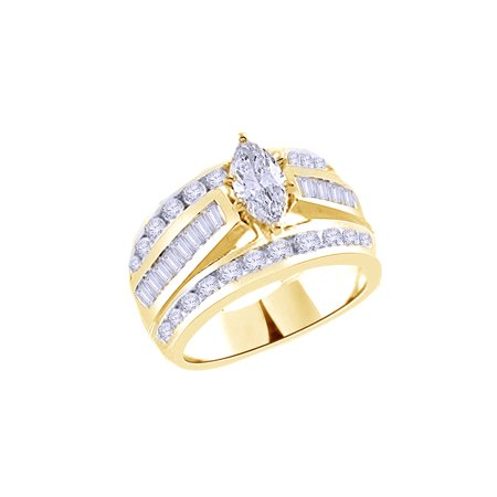 White Cubic Zirconia Engagement & Wedding Trio Band Ring Set In 14k Yellow Gold Over Sterling Silver (3 Cttw) (Gold Wedding Ring Sets)
