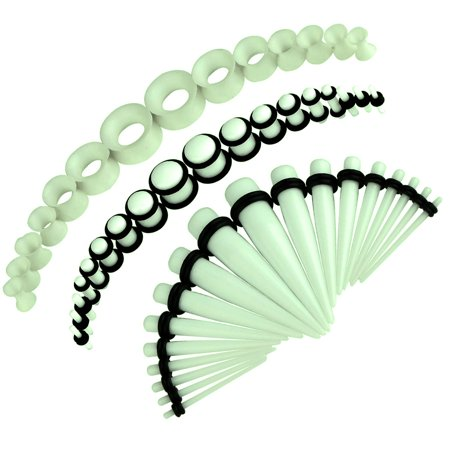 White Glow Gauge (BodyJ4You 50PC Gauges Kit Glow Dark Taper Single Double Flare Acrylic Silicone Plug 14G-12MM Jewelry )