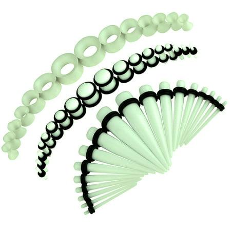 Double Flared Plugs Body Jewelry - BodyJ4You 50PC Gauges Kit Glow Dark Taper Single Double Flare Acrylic Silicone Plug 14G-12MM Jewelry