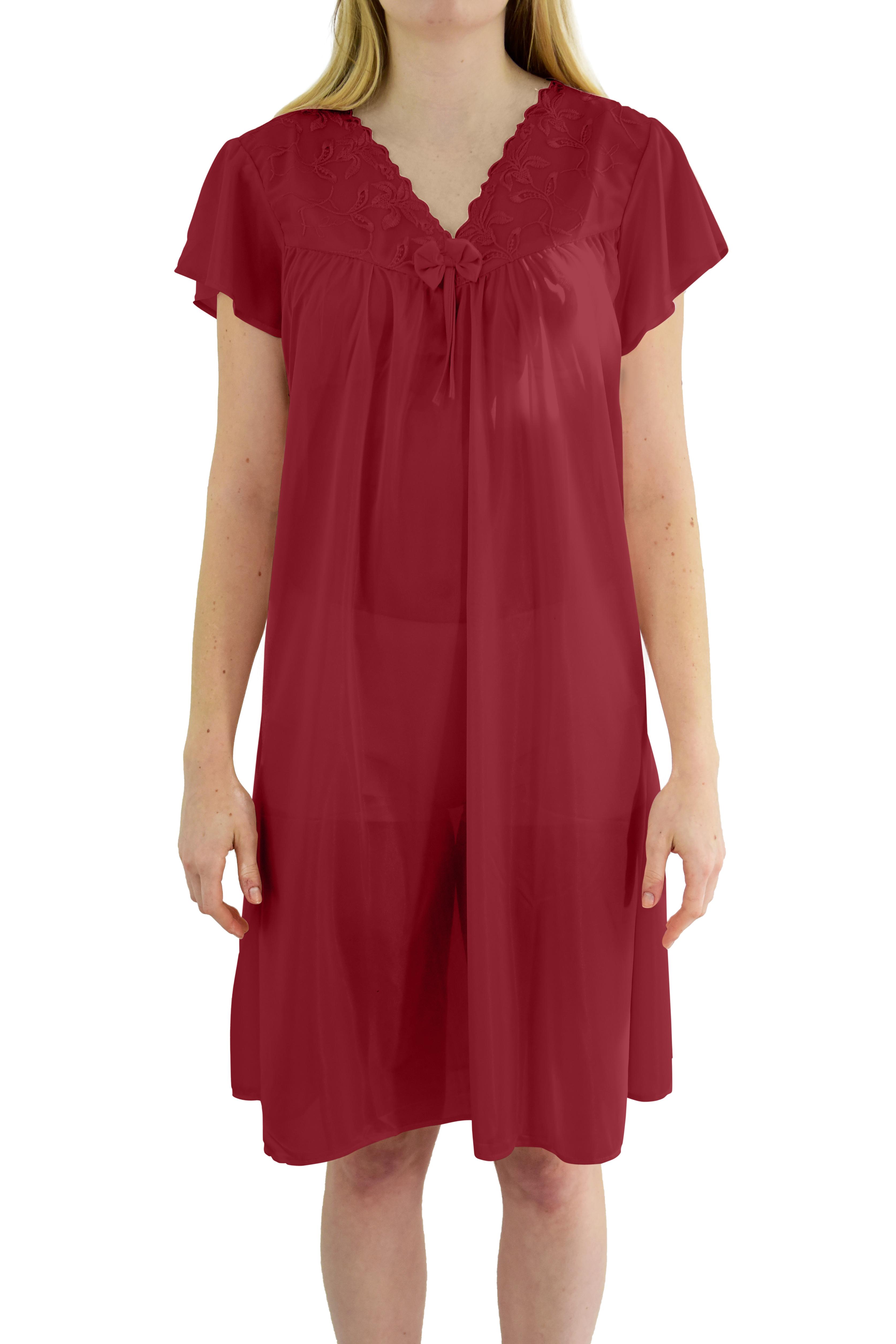 EZI Women's 'Wendy' Cap Sleeve Satin Nightgown