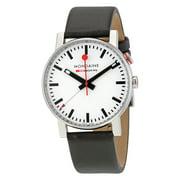 Mondaine Evo Big White Dial Black Leather Mens Watch A468.30352.11SBB