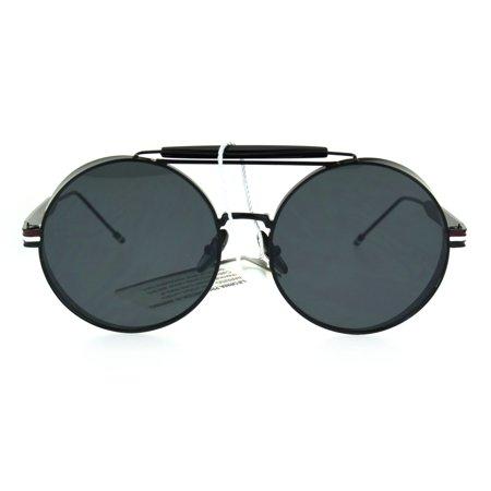 Mens Luxury Steampunk Side Visor Round Circle Sport Metal Rim Sunglasses All Black