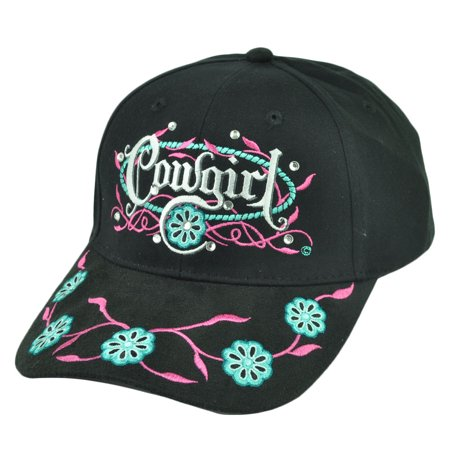 Cowgirl Rhinestones Flowers Black Women Ladies Rodeo Adjustable  Hat - Black Cowgirl Hat With Rhinestones