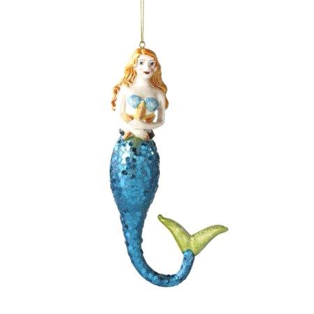Starfish Christmas Ornaments (Coastal Blonde Mermaid with Starfish Christmas Holiday)