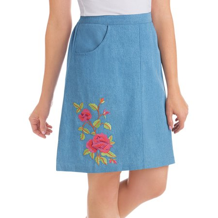 Women's Embroidered Rose Knee Length Denim Skort - Elastic Waistband and Attached Shorts Under Skirt, Large, Denim Blue - Embroidered Denim Skort