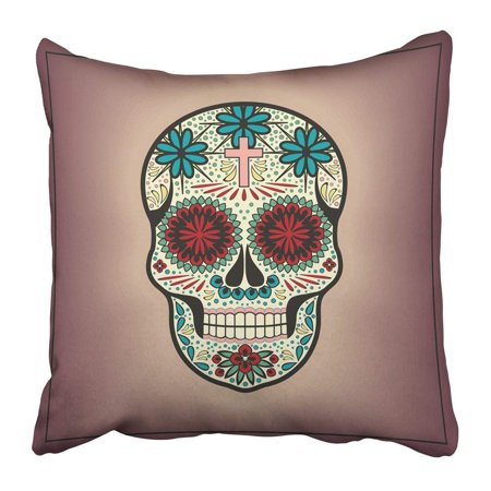 RYLABLUE Black Day Skull Halloween Dead Candy Sugar Bones Brainless Celebration Character Pillowcase Pillow Cover 20x20 inches - image 1 of 1