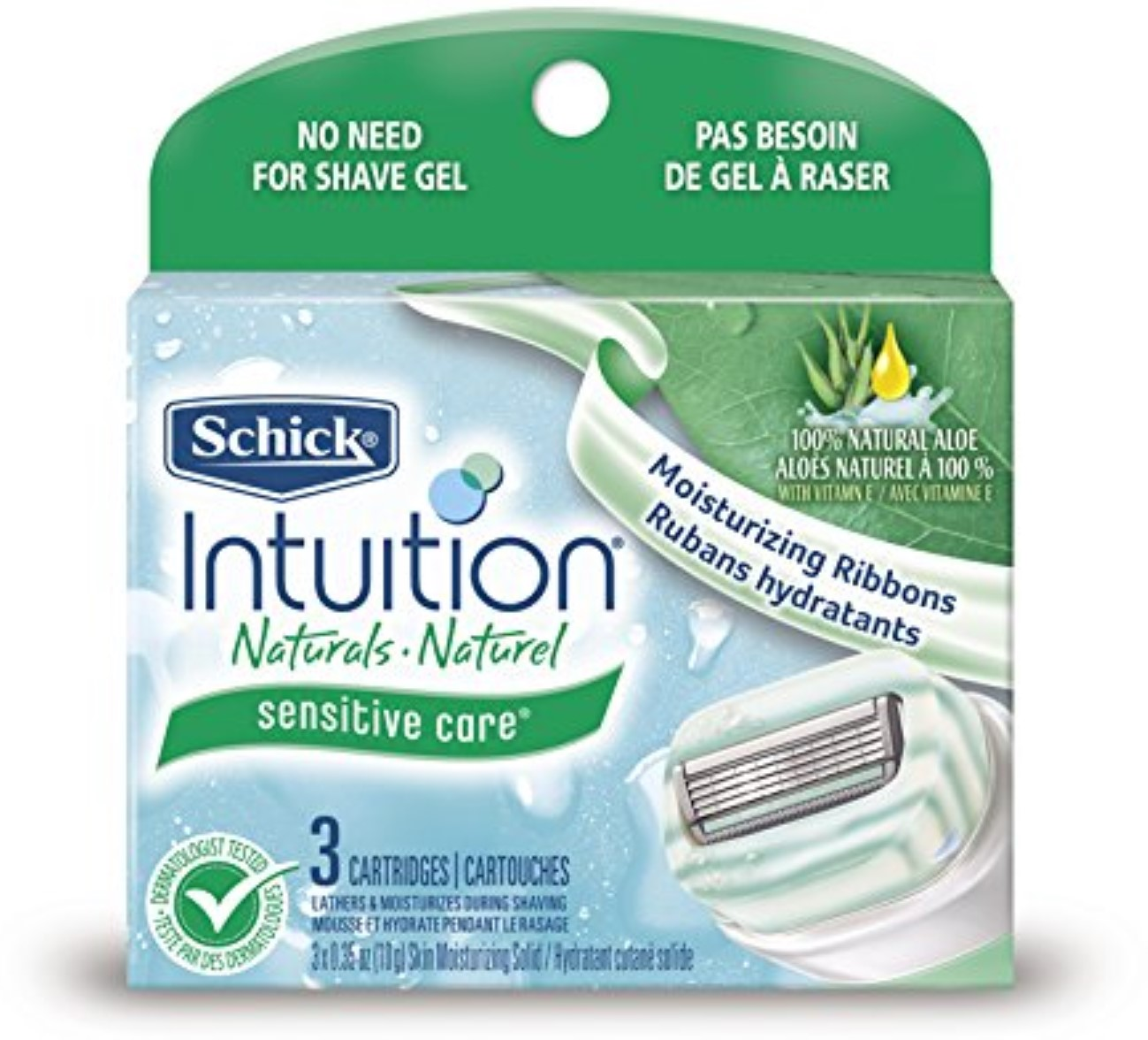 Schick Intuition Naturals Cartridges, Sensitive Care 3 ea (Pack of 6)