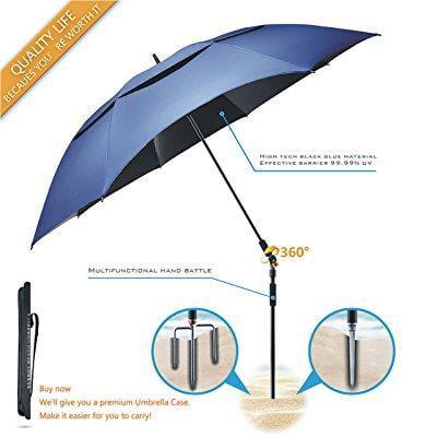 Portable Sun Beach Umbrella Carbon Fiber Stand Innovation Vinyl Uv Protection Quick