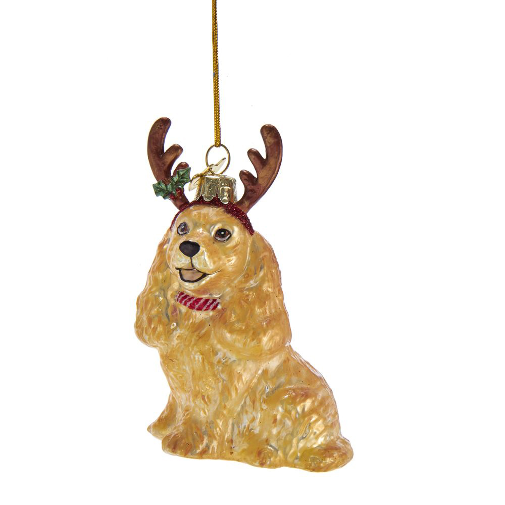 Cocker Spaniel With Antlers Golden 4 inch Glass Christmas ...