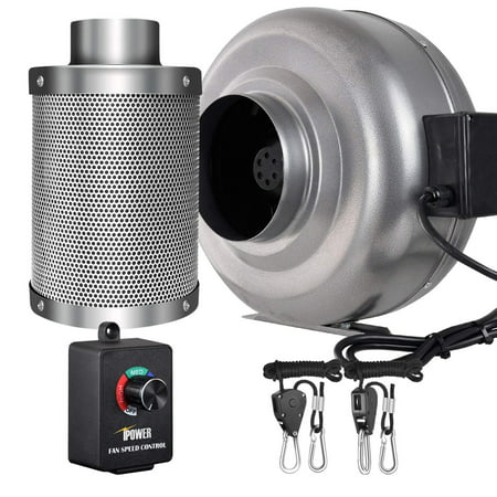 iPower 6 Inch 442 CFM Inline Fan Carbon Filter Combo with Variable Speed Controller 8 Feet Rope Hanger for Grow Tent Ventilation (Grow Tents 4x4 Package)