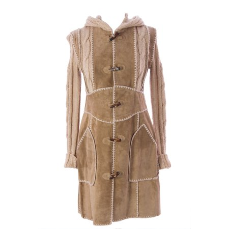 Luciano Abitboul Women's Hooded Toggle Closure Suede/Knit Jacket Sz Small Beige