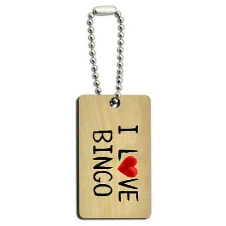 I Love Bingo Written on Paper Wood Rectangle Key Chain - I Love Bingo