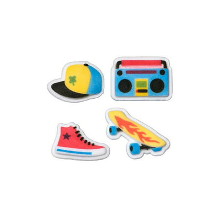 Skate Park Hat Boom Box Skate Board High Top Shoe  Sugar Decorations Toppers Cupcake Cake Cookies Birthday Favors Party 12 Count