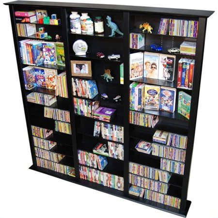 Venture Horizon Triple 76″ Tall CD DVD Wall Media Storage Rack-Cherry