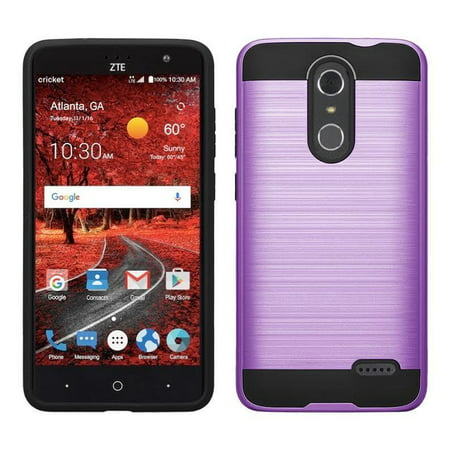 ZTE ZMAX One, Blade Spark Z971, ZTE Grand X4, Grand X 4, Slim Hybrid Dual Layer Metallic Brush Case Cover - Purple (Metallic Purple)