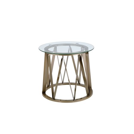 Acme Furniture Perjan End Table, Clear Glass & Antique Brass