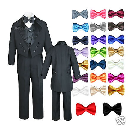 6pc Baby Kid Boy Wedding Formal Black Vest Tail Tuxedo Suits with extra Bow S-18 - Tux With Tails