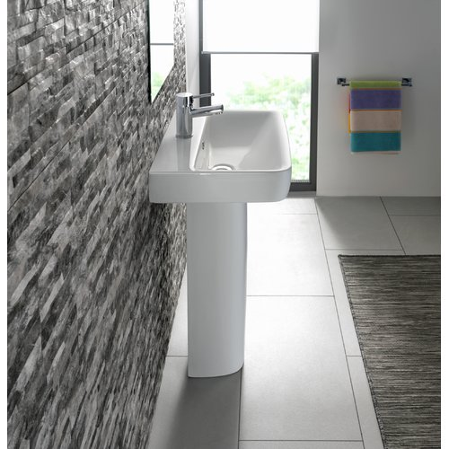 Bissonnet Comprimo Vitreous China 22'' Pedestal Bathroom Sink with Overflow