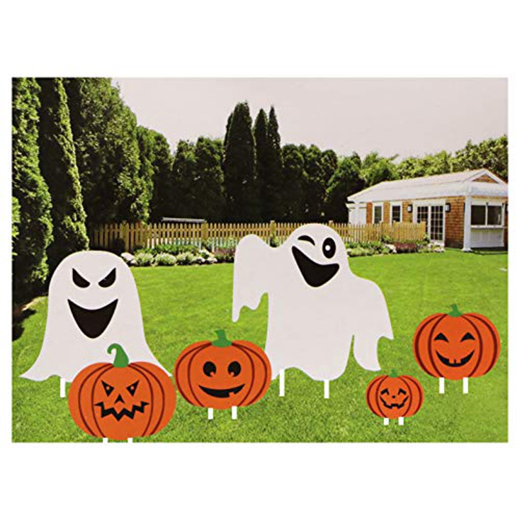 Fright Night Halloween Pumpkin and Ghost Yard Decoration Stakes 6 Pack