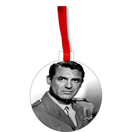 Ornaments Vintage Actor Cary Grant Round Shaped Flat Hardboard Christmas Ornament Tree Decoration - Unique Modern Novelty Tree Décor (Amy Grant Rockin Round The Christmas Tree)
