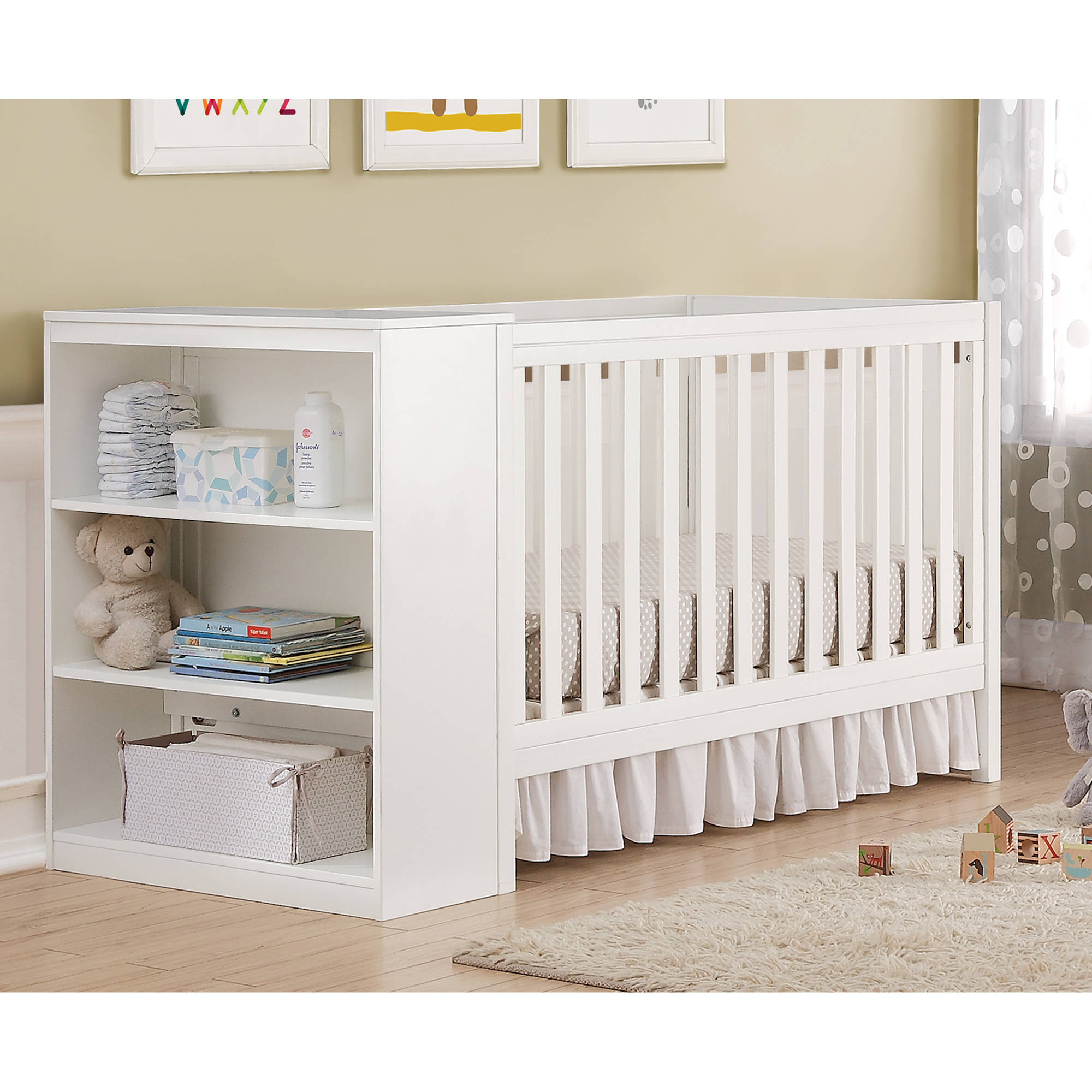Baby Relax Ayla 2-in-1 Convertible Fixed-Side Crib with Storage, Multiple Colors