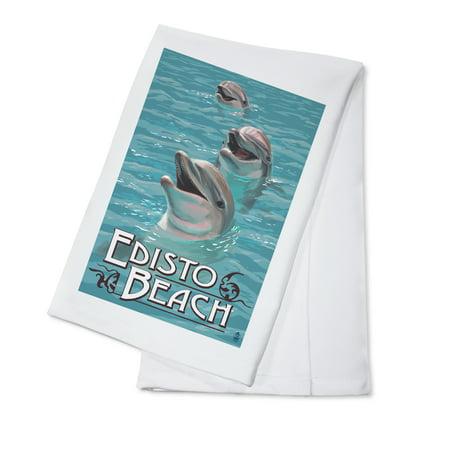 Edisto Beach, South Carolina - Dolphins - Lantern Press Poster (100% Cotton Kitchen Towel)