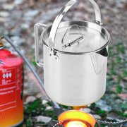 Domqga 1.2L Outdoors Portable Folding Stainless Steel Kettle Cookware Coffee Tea Picnic Camping Pot, Picnic Kettle, Camping Kettle