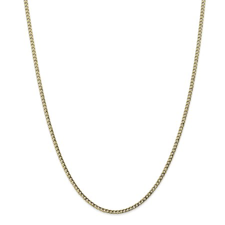 10k Yellow Gold 2.5mm Curb Cuban Link Chain Necklace 20 Inch Pendant Charm Gifts For Women For Her