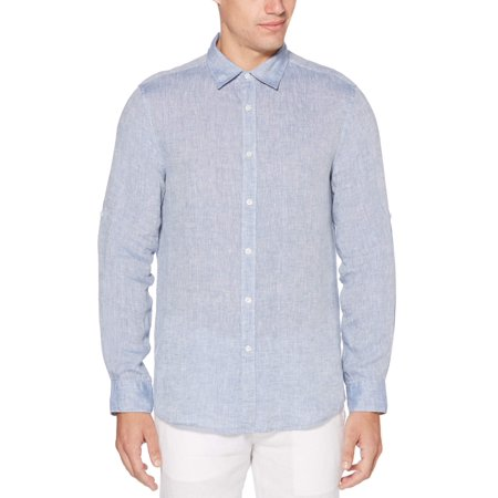 Perry Ellis Rolled-sleeve Solid Linen Cotton Shirt Control Uv Long Sleeve Top