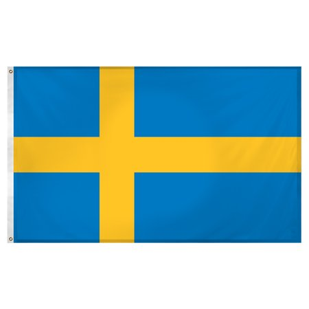Sweden 3ft x 5ft Super Knit Polyester - Swedish Flag Framed