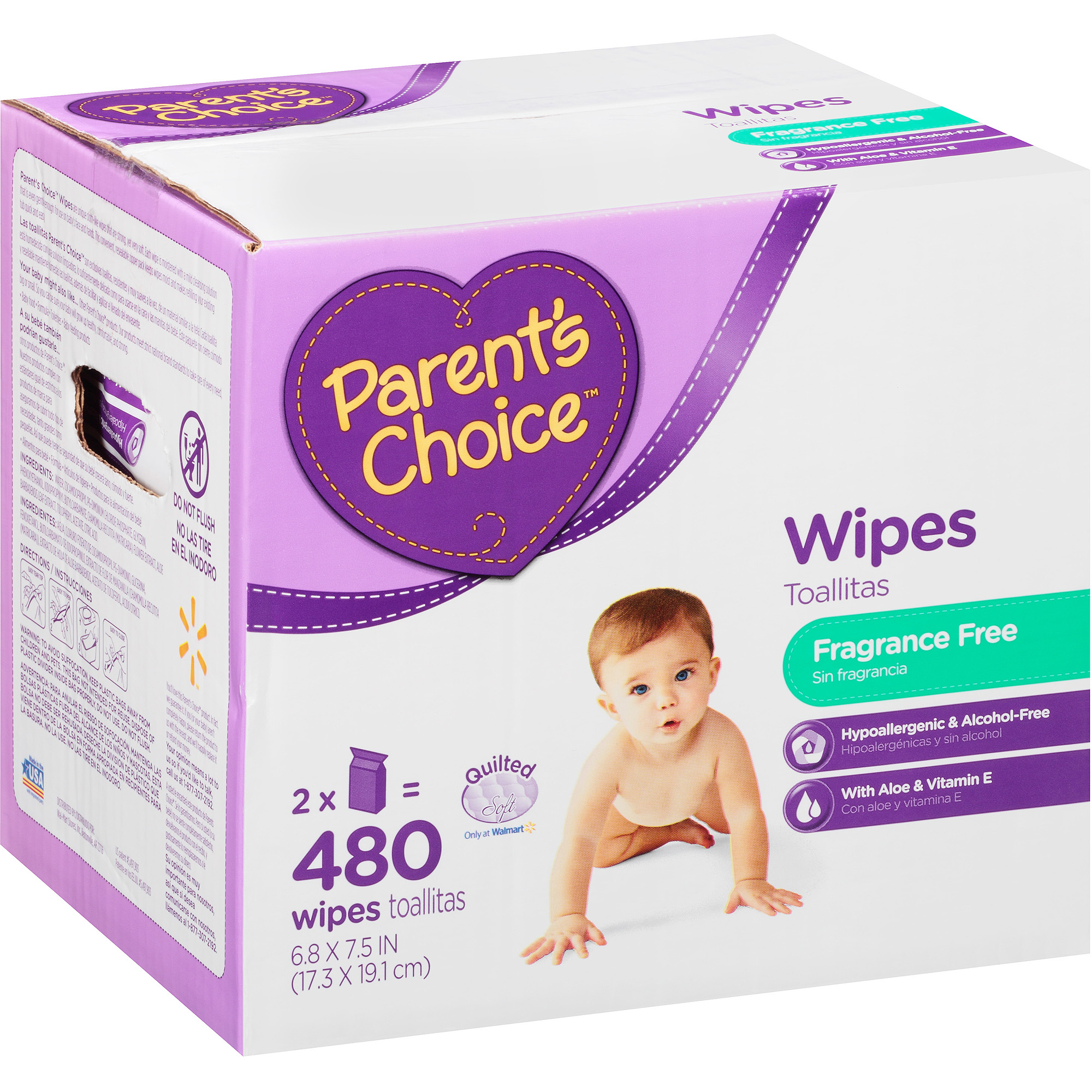 Parent's Choice Club Box Baby Wipes With 2 Resealable Zipper Bags, each with 240ct Sheets - total=480 Sheets