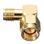 1x Brass SMA Male To SMA Female Jack Right Angle Crimp RF Adapter Connector
