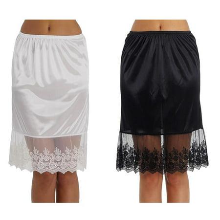 4aec9c76b1 Melody - Women's Single Lace Satin Skirt Extender Half Slip for lengthening  2 Pieces Combo Pack - Walmart.com