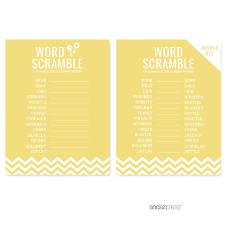 Word Scramble Yellow Chevron Baby Shower Games, - Baby Word Scramble