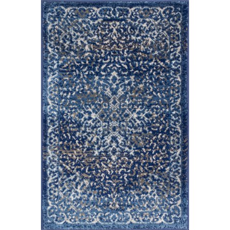 Shabby Rag - Well Woven Coverly Blue & Beige Vintage Medallion Traditional Persian Oriental Door Mat Accent Small Rug 2x3 (1'8
