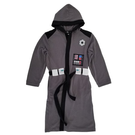 Star Wars Bathrobe (Star Wars Darth Vader Mens Gray Hooded Bath Robe House)